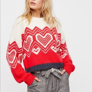 Free People I heart You Valentine sweater size L
